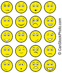 smile icon - Group round yellow smileys on white background