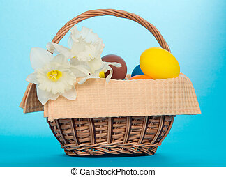 Narcissuses and Easter eggs in basket - White narcissuses...