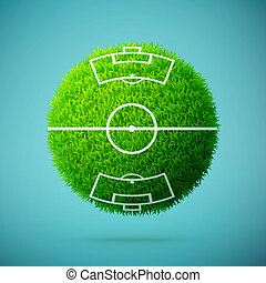 Green grass sphere with soccer field on a blue clear background
