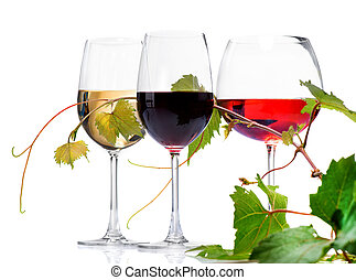 Wine Three Glasses of wine isolated on white