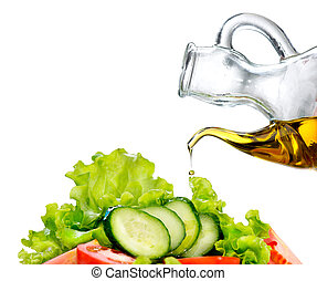 Vegetable Salad with Olive Oil isolated on white background
