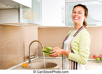 Woman Washing Dishes Kitchen