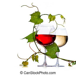 Two glasses of red and white wine decorated with grape...