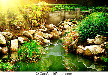 Landscaped Garden with Pond Park Landscape