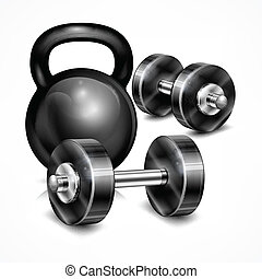 Metallic kettle bell and two dumbbells on white, vector...