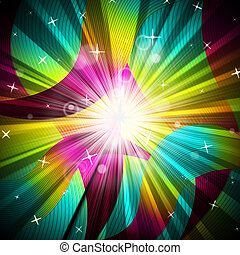 Background Sunrays Shows Radiate Sunlight And Multicoloured...