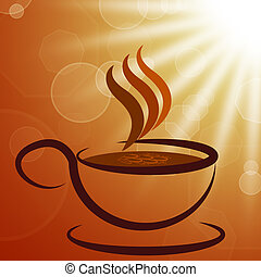 Cup And Saucer Shows Coffee Shop And Beverages - Cup And...