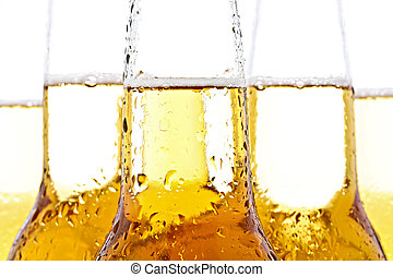 beer closeup on white