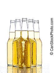 beer bottles on white