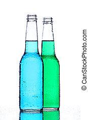 alcohol bottles on white