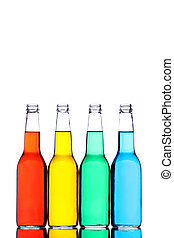 bottles isolated on white - glass bottles with reflection...