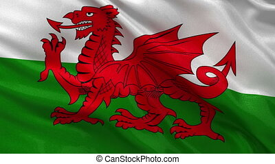 Flag of Wales seamless loop - Flag of Wales gently waving in...