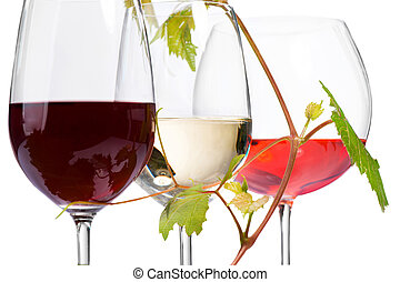 Three glasses of wine isolated on white Closeup image