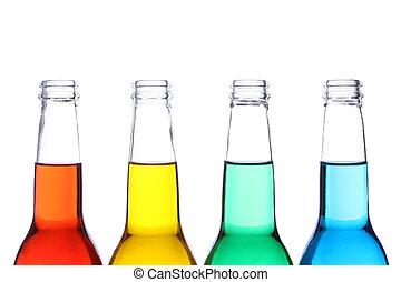garrafas, colorido, isolado