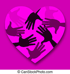 Hands Pink Means Valentines Day And Affection - Hands Pink...