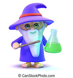 3d Wizard has a potion - 3d render of a wizard with a potion...