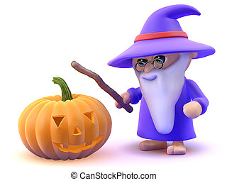 3d Wizard with Halloween pumpkin - 3d render of a wizard and...
