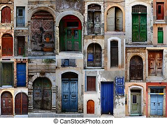 Collection of weathered doors in the old town of Chania,...