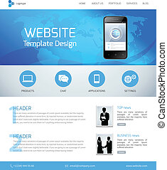 Website design template with menu and navigation layout...