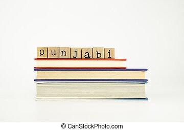 punjabi language word on wood stamps and books - punjabi...