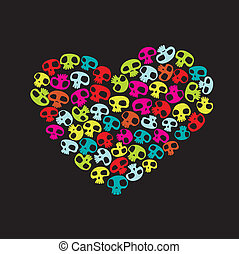 funny skulls - Heart shape made of small colorful funny...