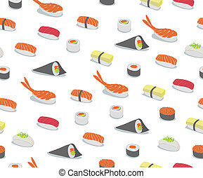 sushi Pattern - background illustration of various types of...