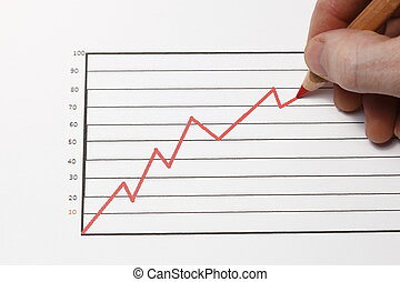 red chart -  growth progress red arrow with pen in hand