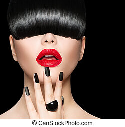 Model Girl Portrait with Trendy Hairstyle, Makeup and...