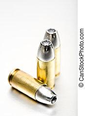 bullets 9mm macro on brushed metal