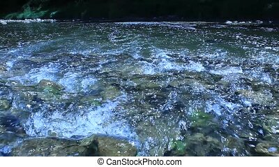 stream of speed mountainous river - beautiful stream with...