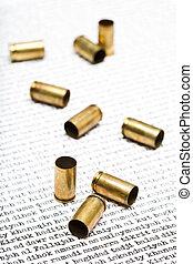 bullet shells over Iraq - bullet shells closeup over the...