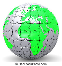 Globe Jigsaw Represents Globalisation World And Puzzle