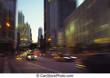 Miami Brickell Avenue - City night lights at Miami Brickell...