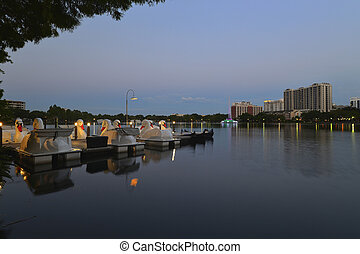 Orlando skyline, lake Eola Park - a shot of Orlando Downtown...