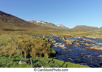 Spey river west of Garva bridge at dawn, Scotland in spring...