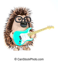 3d Hedgehog plays electric guitar - 3d render of a hedgehog...