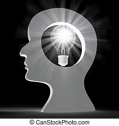 Light Bulb Shows Think About It And Creativity - Light Bulb...