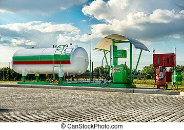Natural gas fuel tank at car filling station