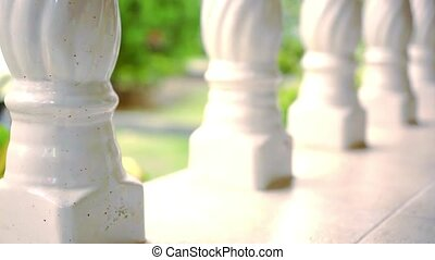 Close-up of a line Of columns. Video shift motion 1920*1080