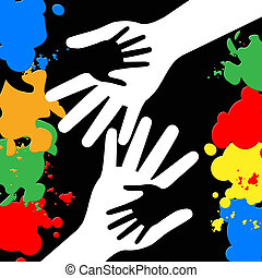 Holding Hands Represents Paint Colors And Bonding - Holding...