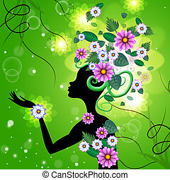 Green Flowers Means Hairdo Lady And Florals - Hair Flowers...
