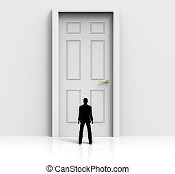 Door Mystery Shows Confused Wondering And Doorways - Doorway...