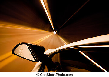travel through tunnel motion blur - car driving through...
