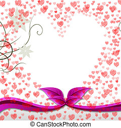 Hearts Floral Means Valentines Day And Bouquet - Hearts...