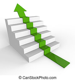 Win Arrow Shows Upwards 1St And Ascend - Growth Stairs...
