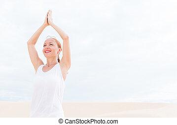 joven, mujer, Practicar, yoga