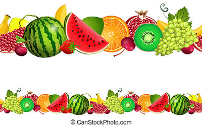 seamless border of fruit