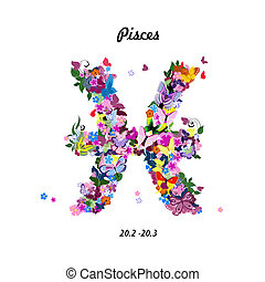 Pattern with butterflies, cute zodiac sign - pisces