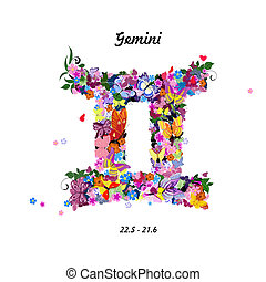 Pattern with butterflies, cute zodiac sign - gemini
