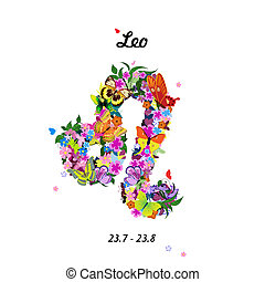 Pattern with butterflies, cute zodiac sign - leo